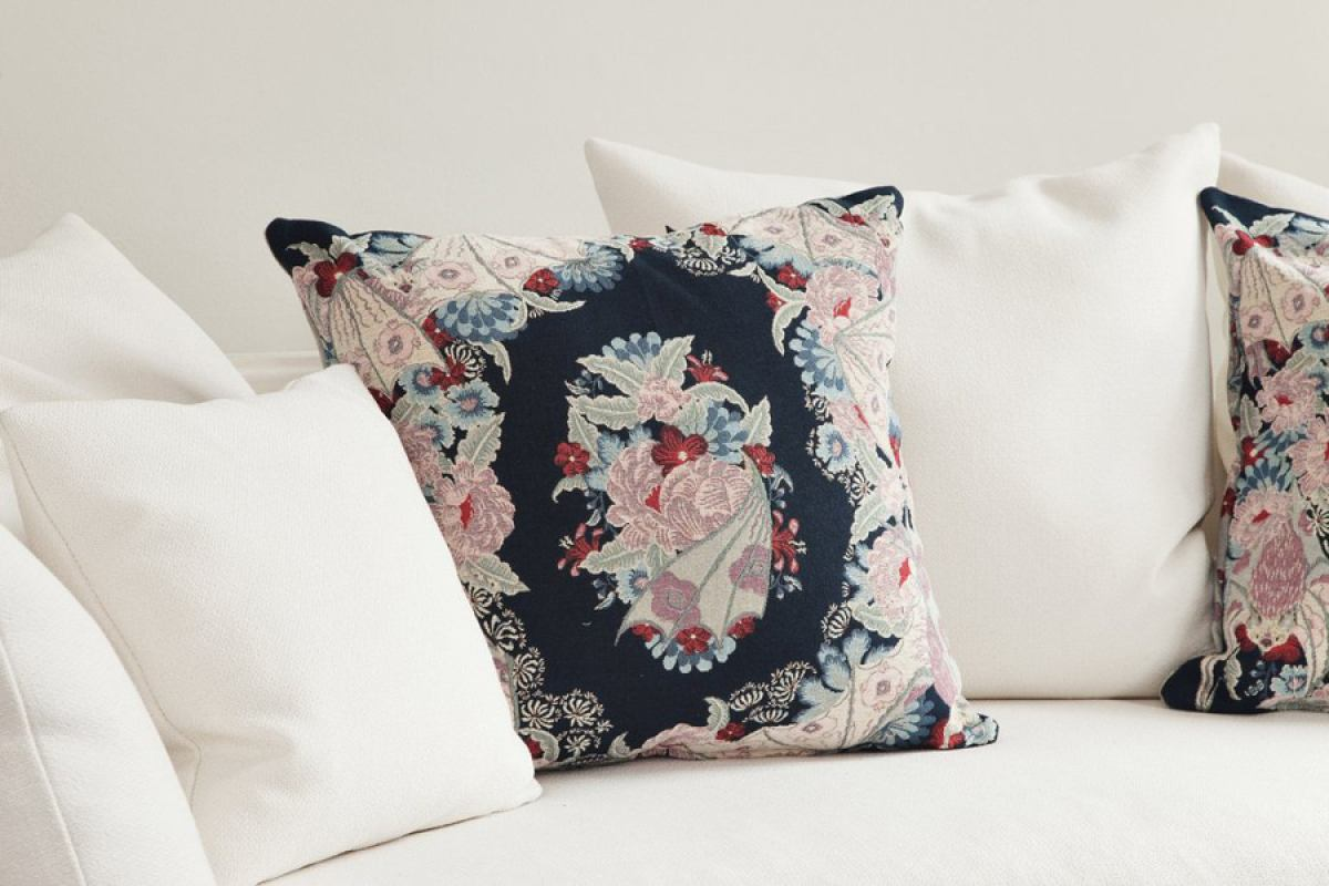 Exclusive Blue Tapestry Cushion with Flowers