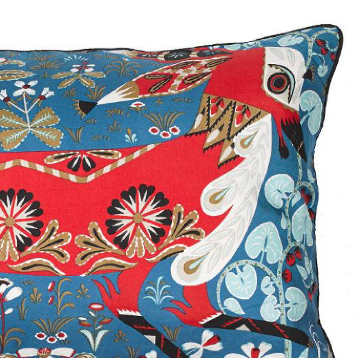 Silk print cushion sleeve 'Running Fox' | Kunstbaron