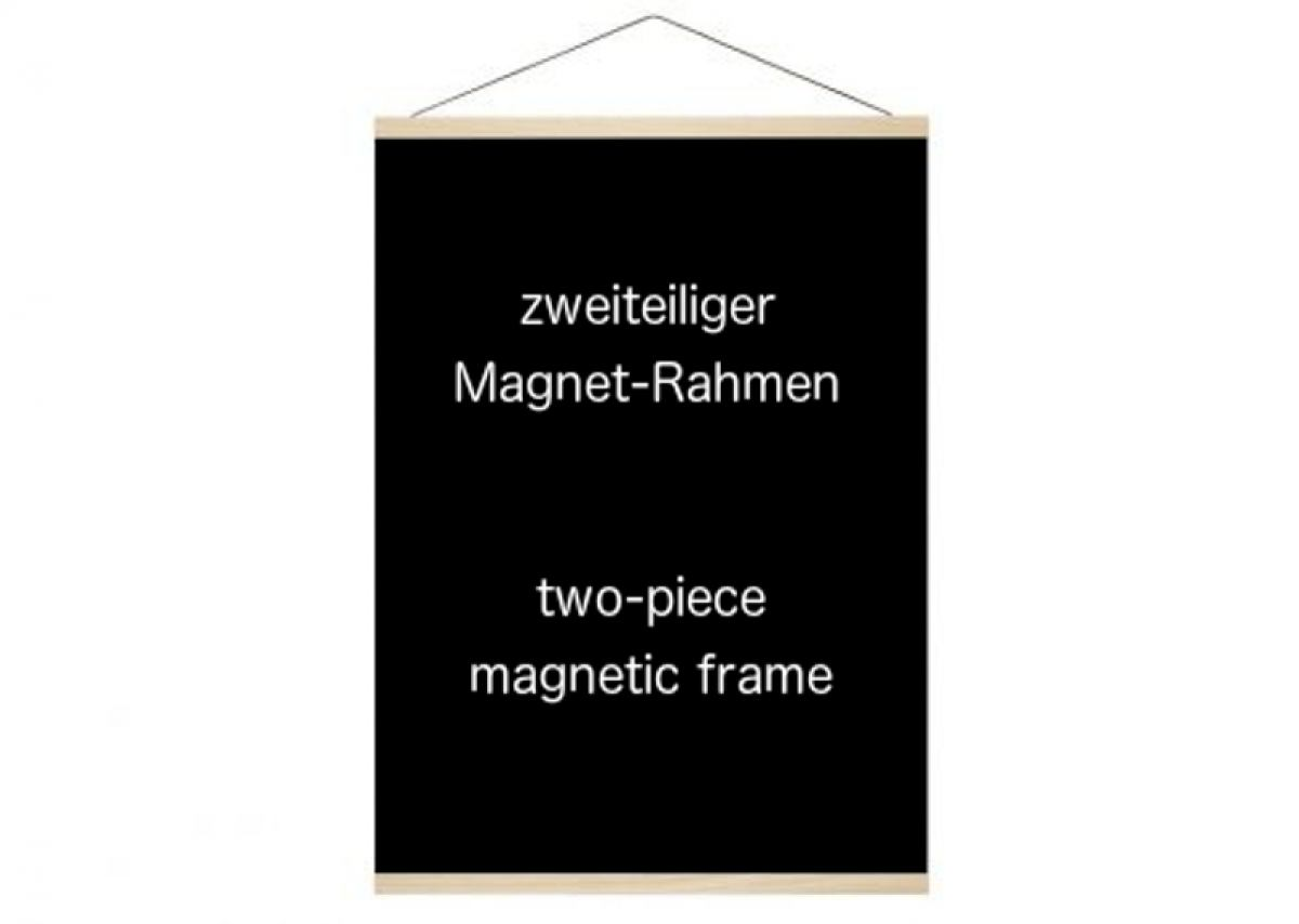 Magnetic oak wood frame for hanging posters and art prints