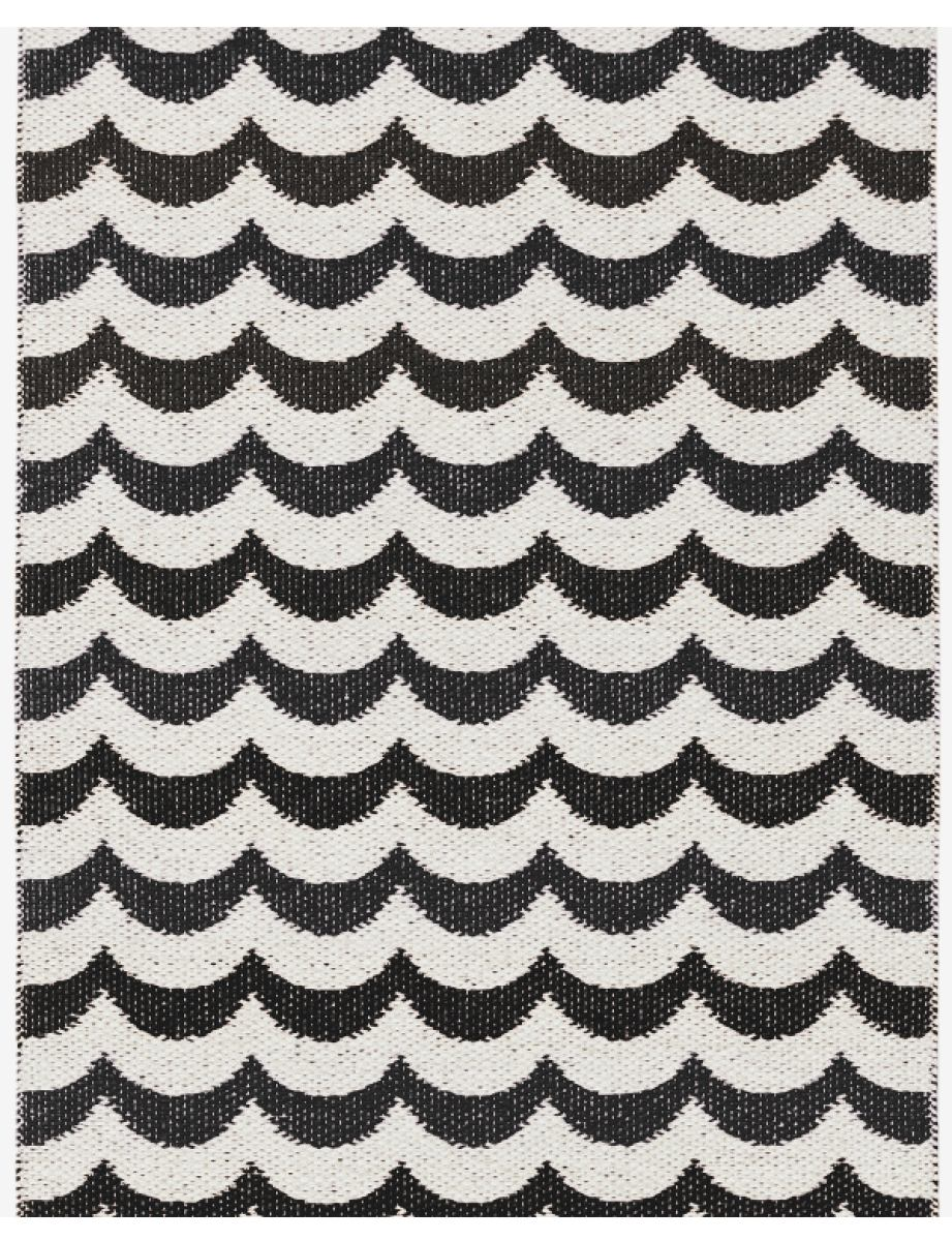 "Traditionally Woven Plastic Rug ""Ocean"" (Black Wave Pattern)