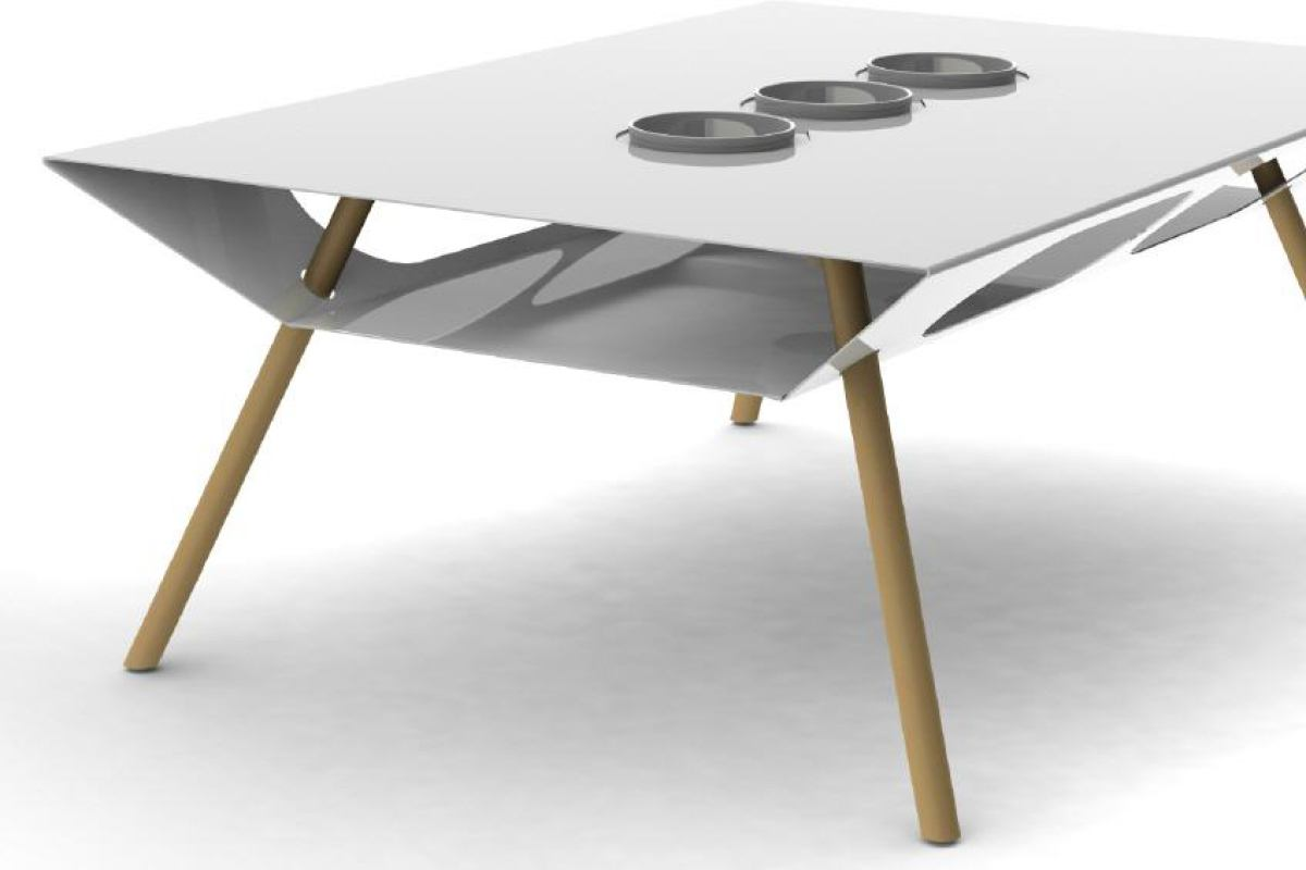 White stainless steel coffee table with three porcelain vessels (119 x 80 cm)
