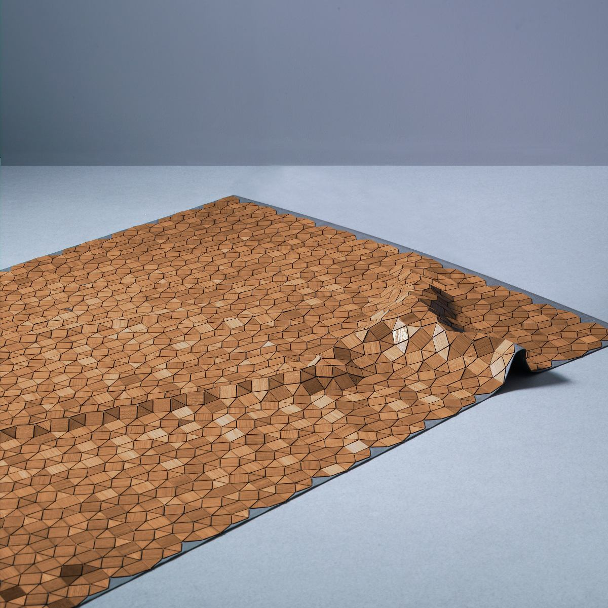 "Design rug ""Ashdown"" made of wood and linen"