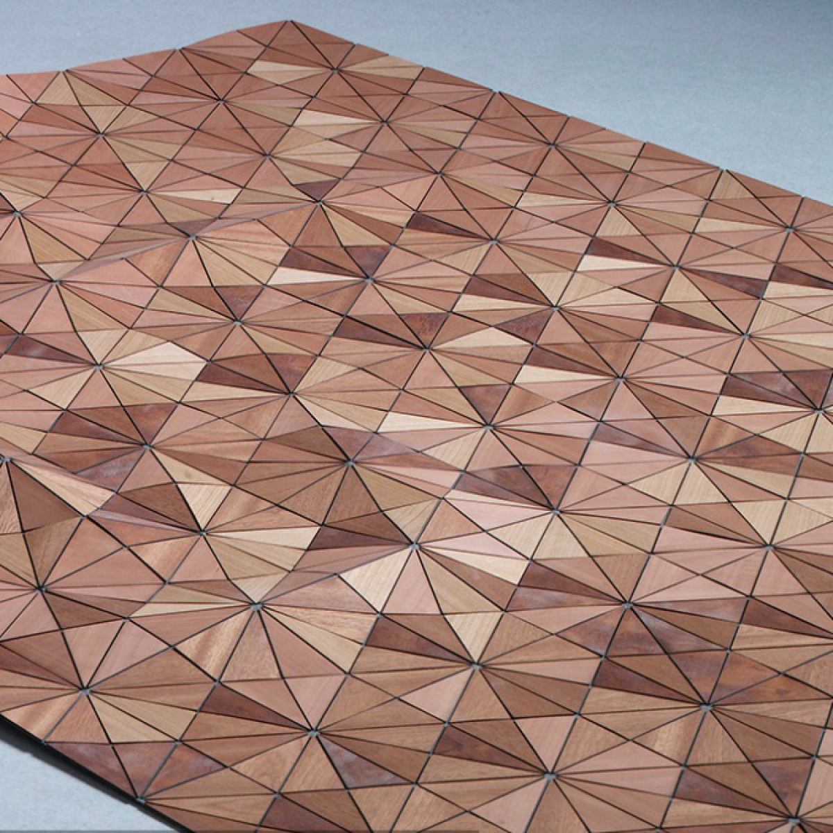 "Design rug ""Wentwood"" made of wood and linen"