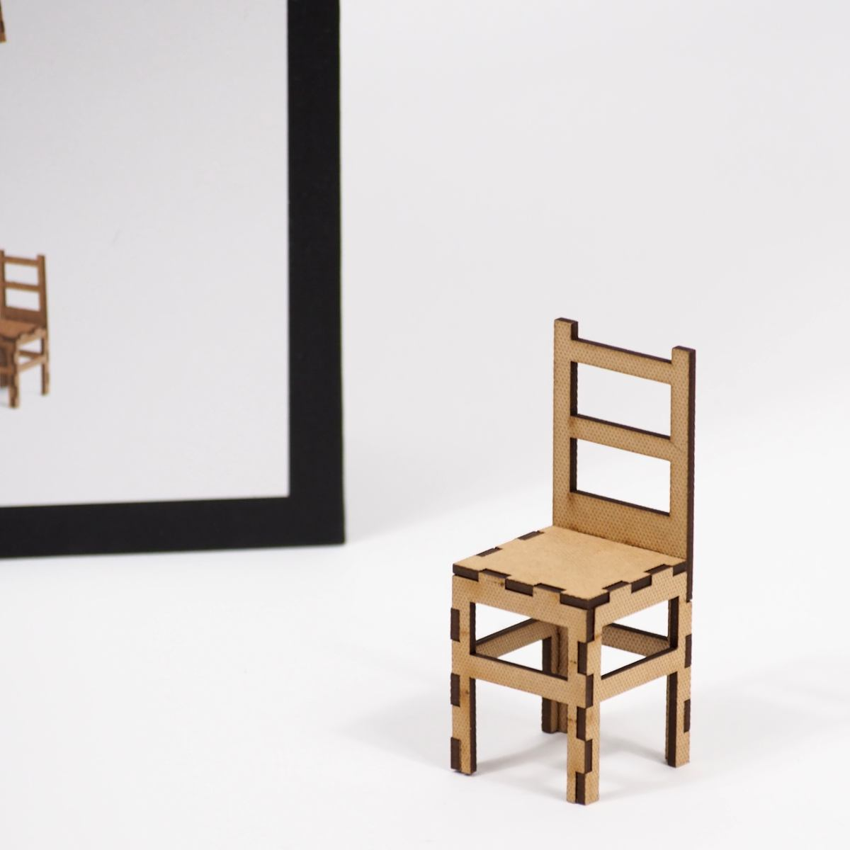 Artistic Stacking Game with 29 Wooden Chairs