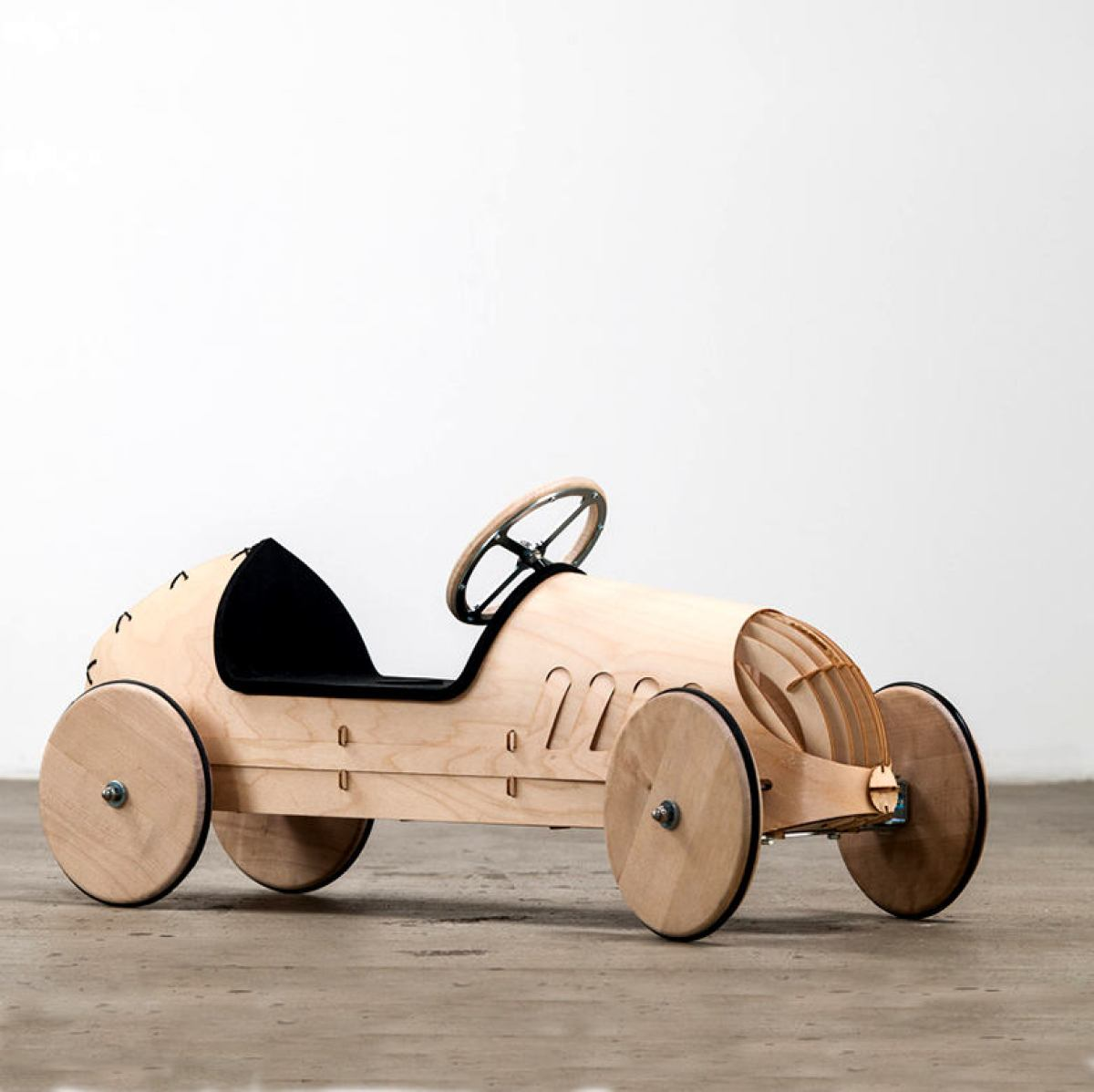 Wooden Ride-On Car for Kids, Natural Version