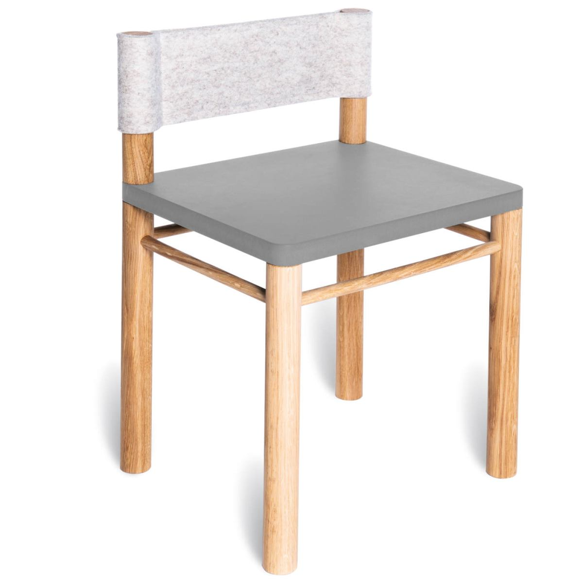 Grey version: Solid wood children's chair with wool felt backrest