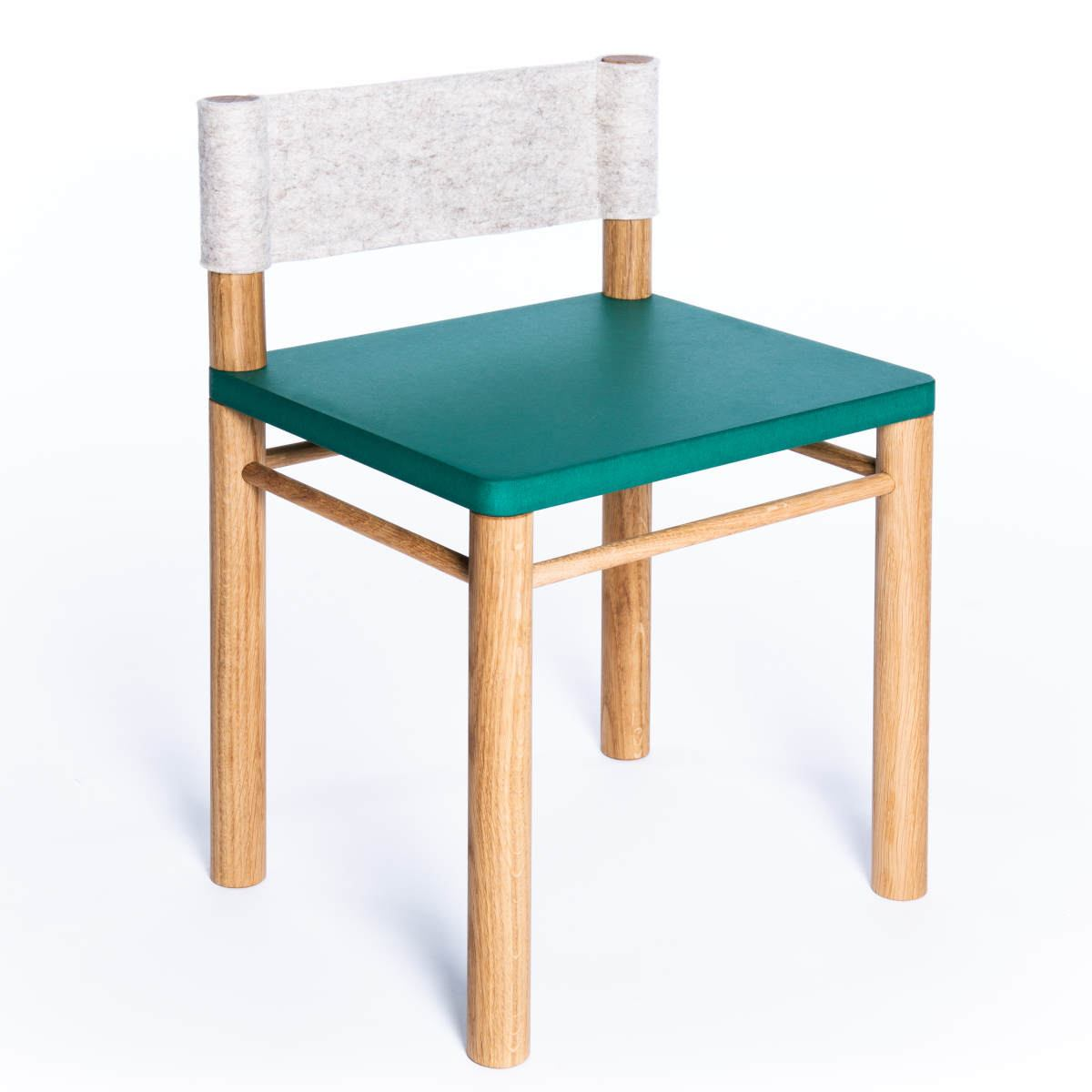 Green version: Solid wood children's chair with wool felt backrest