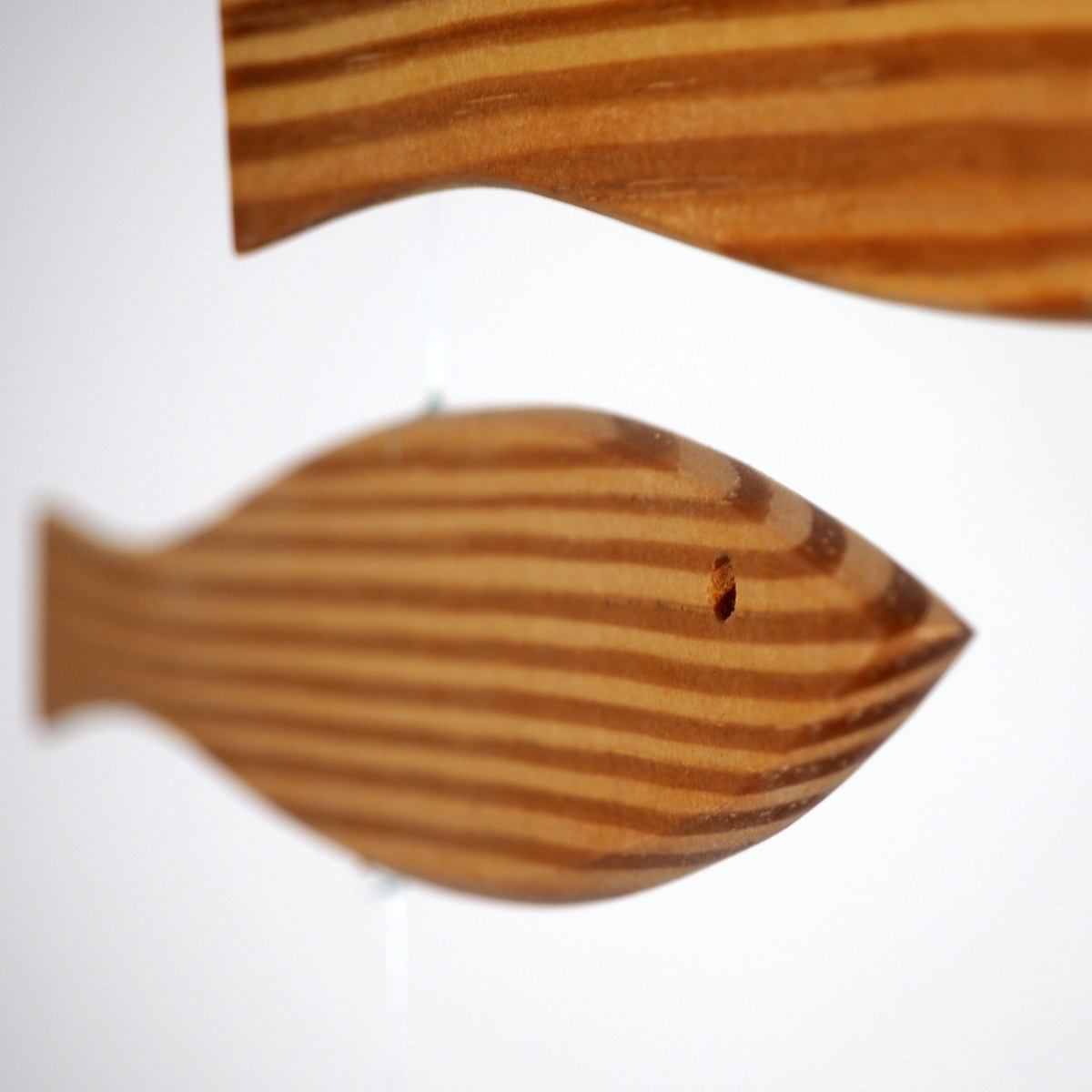 "Art mobile ""Floating Fish"" made of pitch-pine"