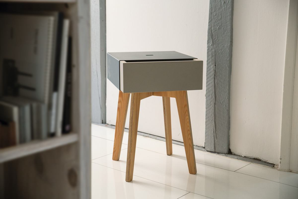 Square Design Stool / Side Table with Drawer