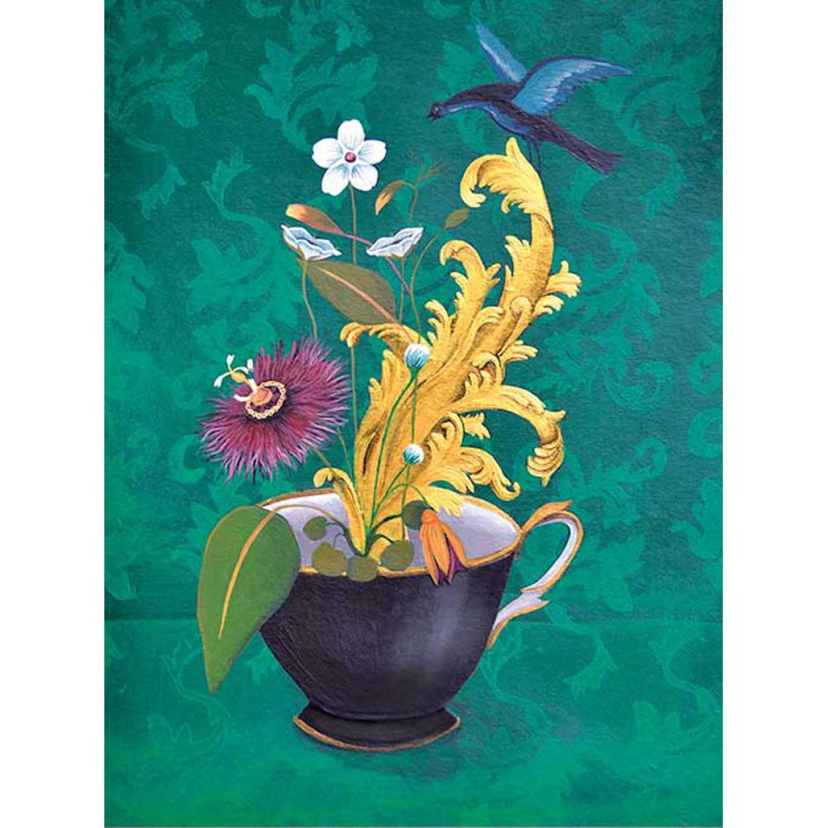Art Print with Flower Still Life on Non-Woven Paper