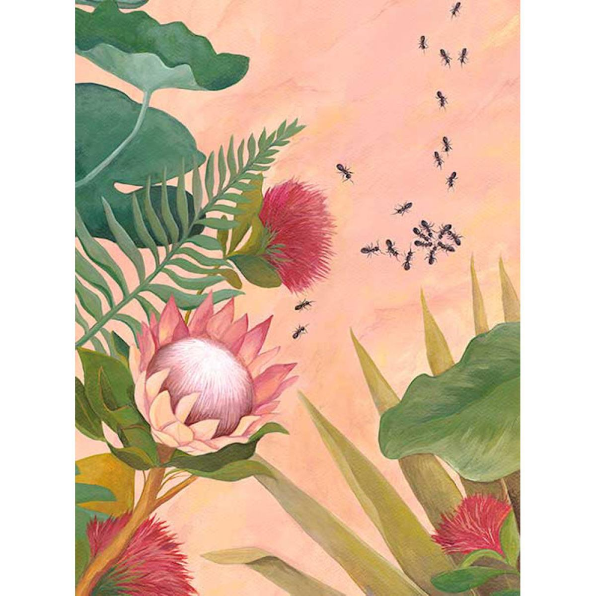 Art Print with Flowers and Ants on Non-Woven Paper