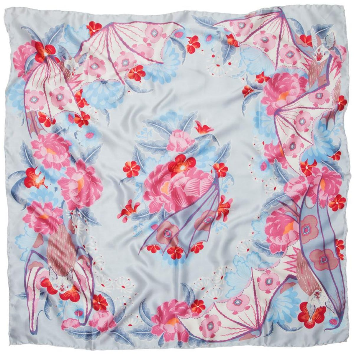 "Scarf with Art Print ""Bat & Flowers"" on Pure Silk Satin"