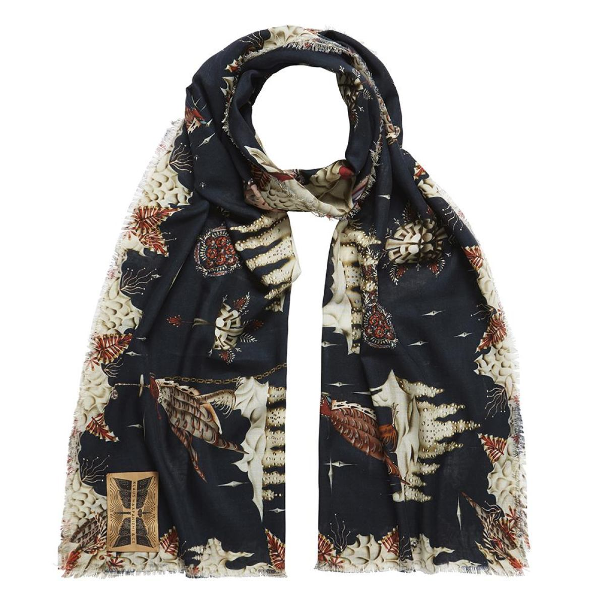 Large Scarf with Polar Motif (Black) made of Wool and Silk