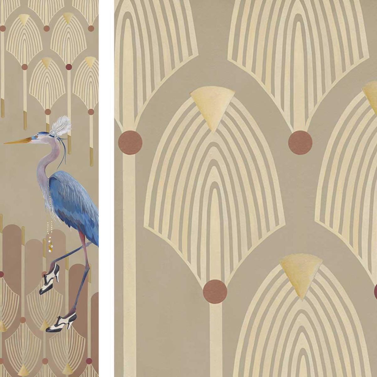Wallpaper with heron image, beige background