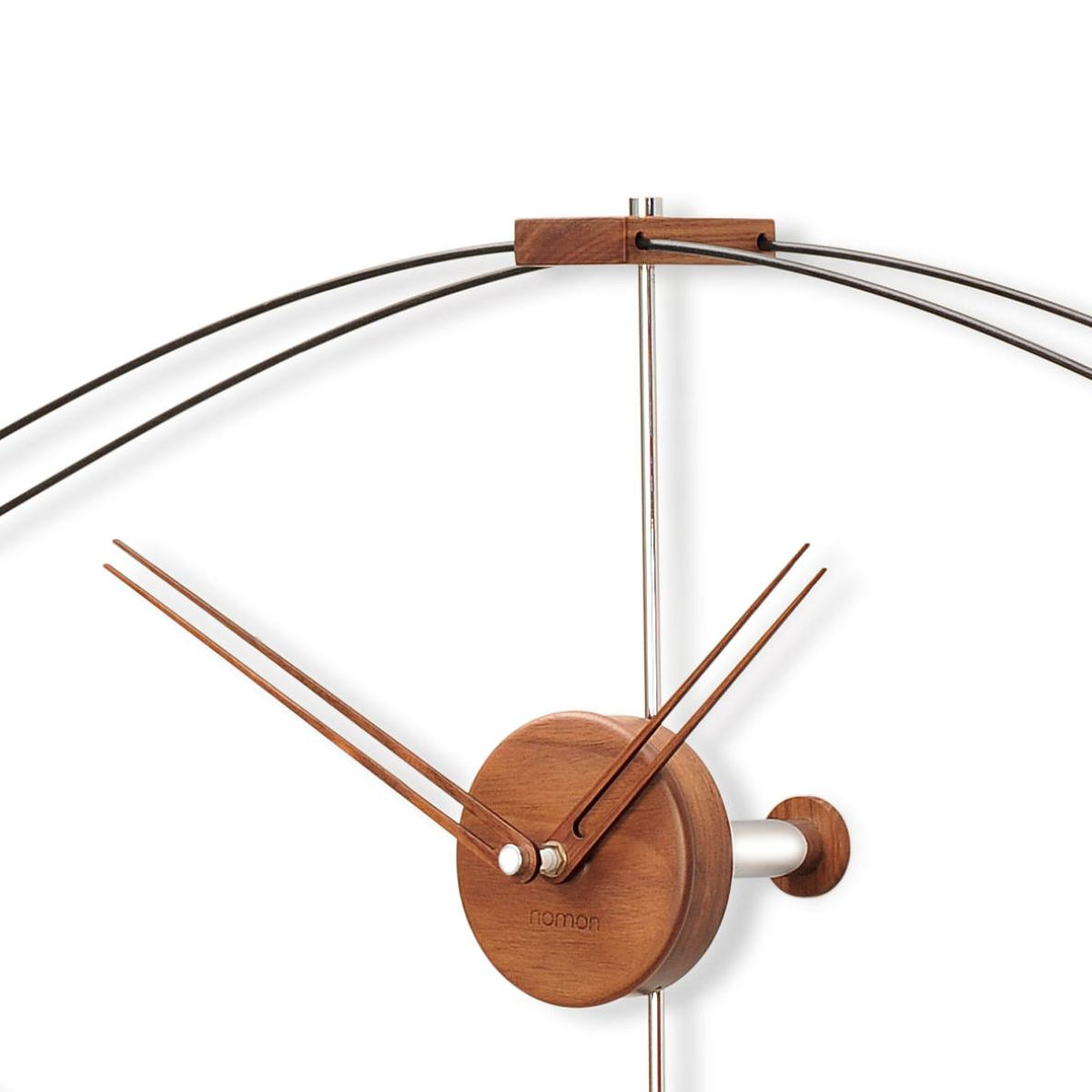 "Large Wall Clock ""Look"" made of Walnut and Fibre Glass – Width 140 cm"