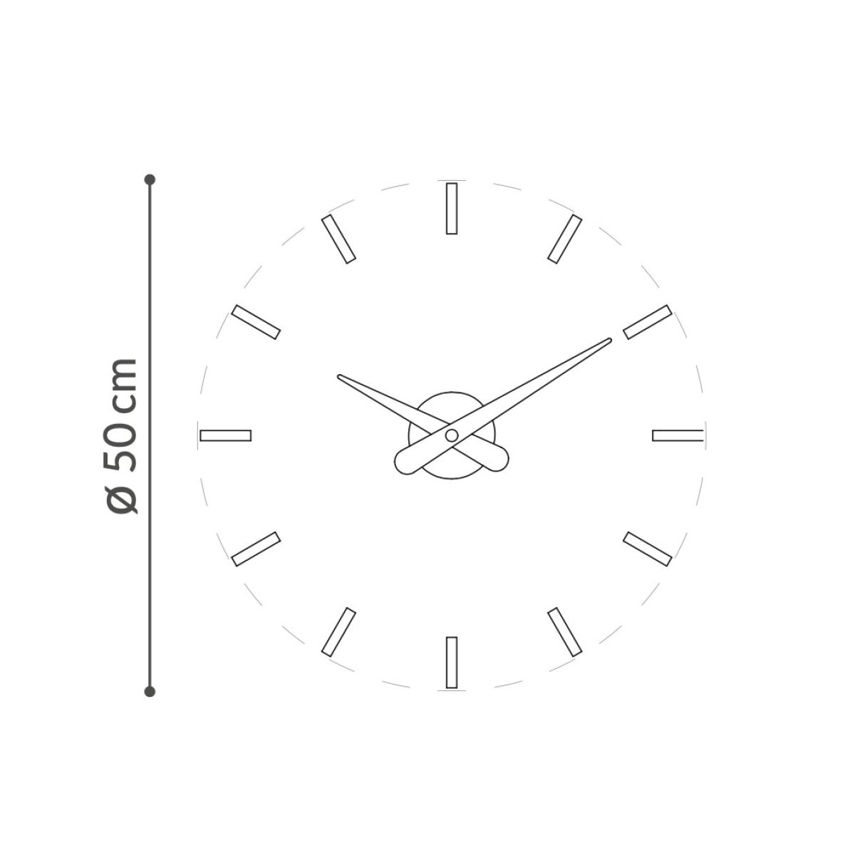 Minimal Wall Clock without Dial, made of Walnut Wood Ø 50 cm
