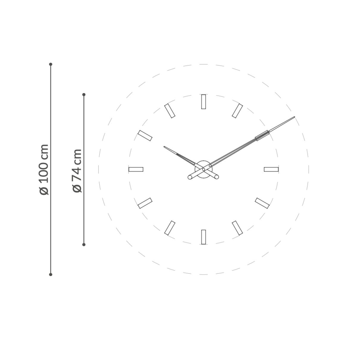 "Modern Design Wall Clock ""Tacón G/T"" made of Brass or Steel Ø 74 cm"